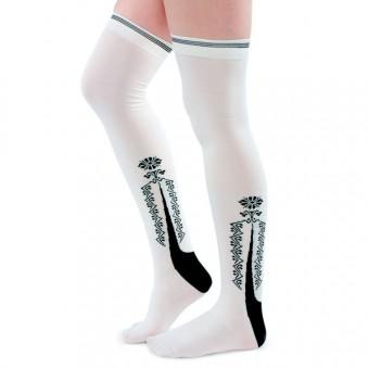 Clocked Silk Stockings (White)