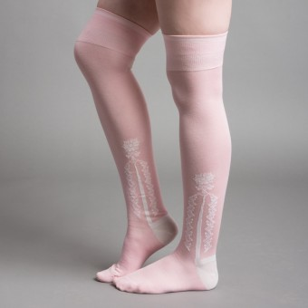 Clocked Silk Stockings (Pink)