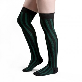 Striped Cotton Stockings (Green, Black)