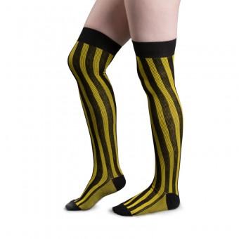 Striped Cotton Stockings (Yellow, Black)