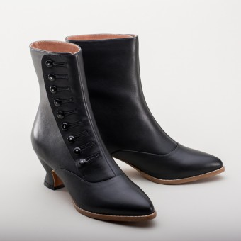 """Tavistock"" Victorian Button Boots (Black)(1890-1925)"
