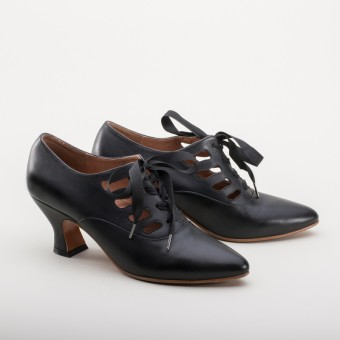 """Theda"" Edwardian Shoes (Black)(1900-1925)"